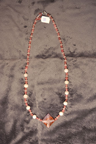 Collier agate quartz rose pierre de lune N33